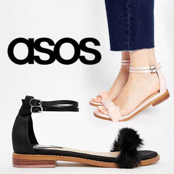 ASOS FREEDOM Faux Fur Flat Sandals フェイクファーサンダル