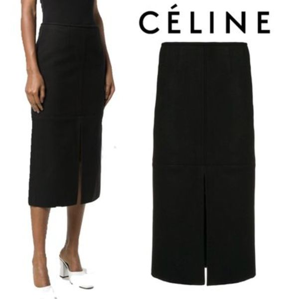 【18AW】★CELINE★straight fit midi skirt
