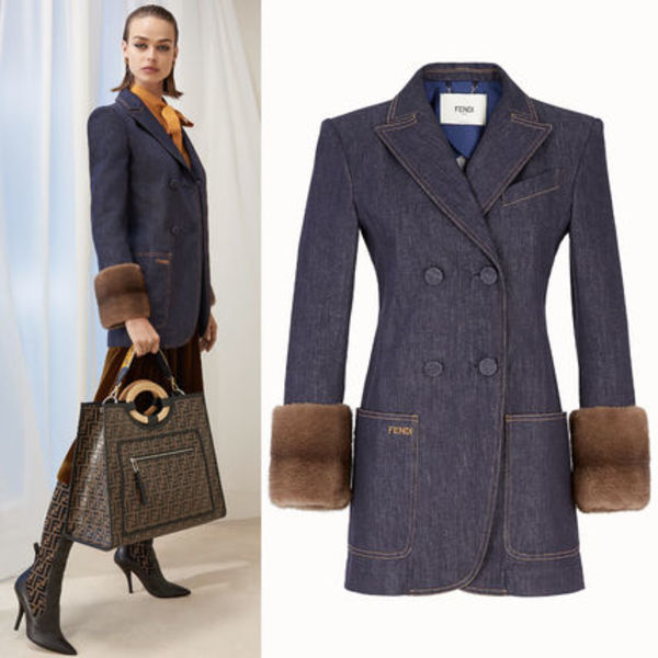 FE2095 LOOK24 DENIM BLAZER WITH MINK FUR TRIM