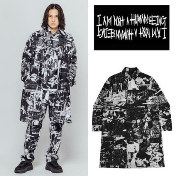 I AM NOT A HUMAN BEING◆TORN PICTURES ALL PRINT MAC COAT