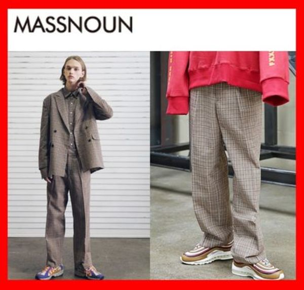 韓国の人気★【MASSNOUN】★DL CHECK WIDE SLACKS★ベージュ★