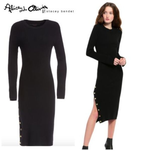 【Alice+Olivia】SELENA LONG SLEEVE SIDE SLIT SWEATER DRESS