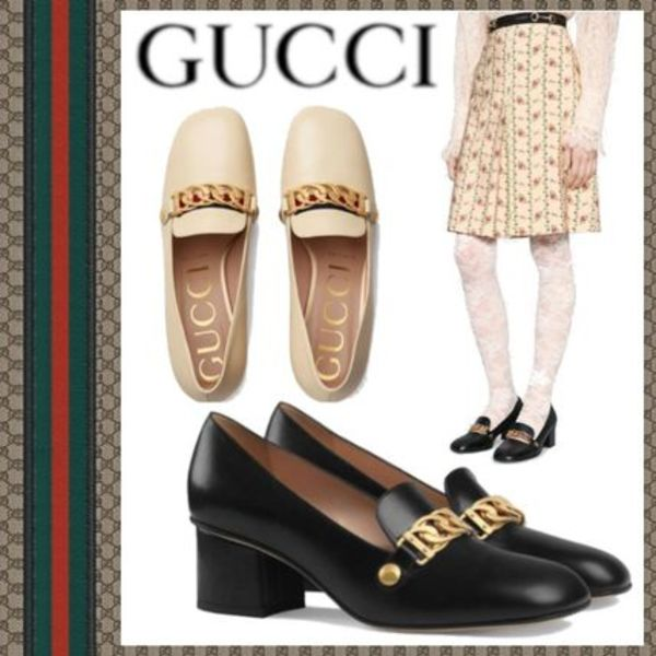 GUCCI 18AW Decollete tacco medio in pelle con catena Sylvie