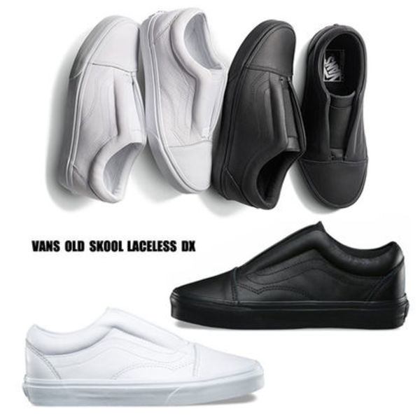 VANS★OLD SKOOL LACELESS DX★紐なし 本革★25.5~29cm★2色