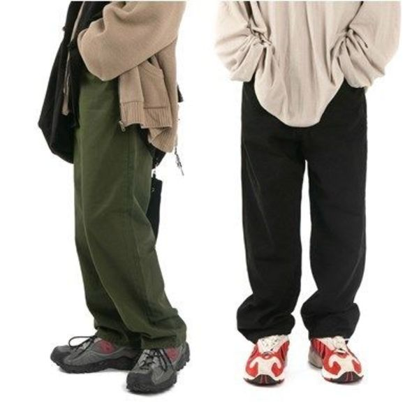 大人気!【Raucohouse】Natural wide chino pants/男女兼用/4色