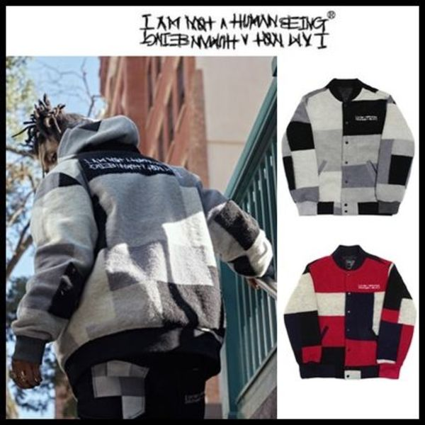 ☆I AM NOT A HUMAN BEING☆ PATCH WORK STADIUM JACKET 2色