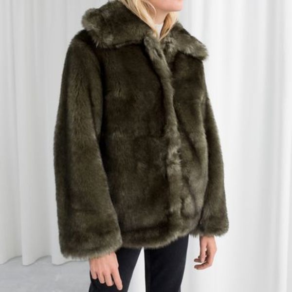 & Other Stories - Short Faux Fur Jacket Green