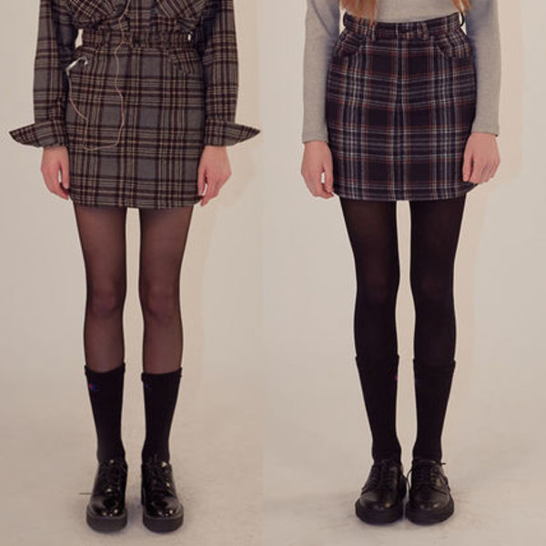 ★SCULPTOR★チェックスカート18AW SCP Check Wool Skirt【2色】