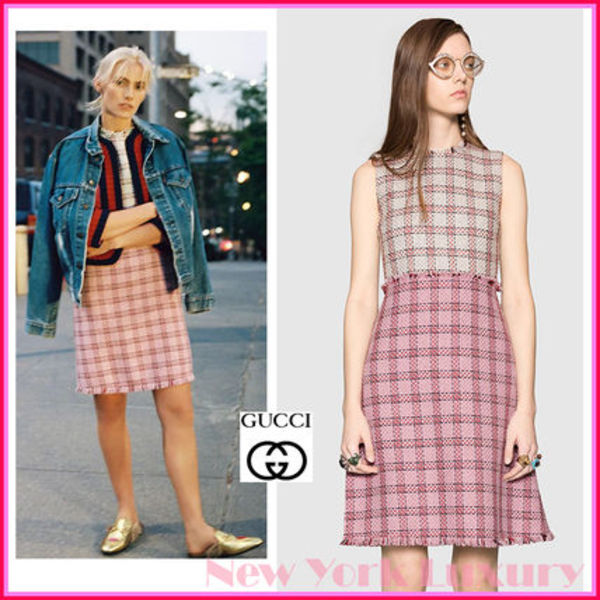 GUCCI★グッチ★素敵!TWO TONE TWEED WOOL BLEND DRESS