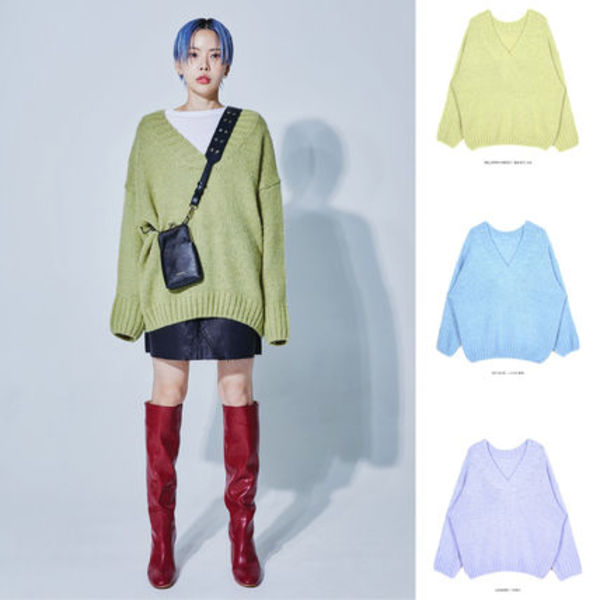 【OPENTHEDOOR】2way v-neck pastel knit (3 color)