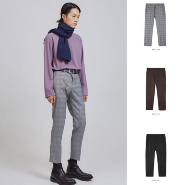 【OPENTHEDOOR】glen plaid slim slacks (3 color) - UNISEX