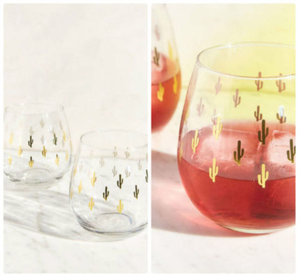 追跡・補償あり【宅配便】Metallic Cactus Wine Glass Set