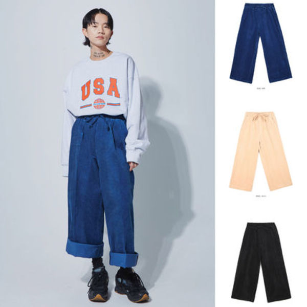 【OPENTHEDOOR】wide corduroy banding pants (4color) -UNISEX