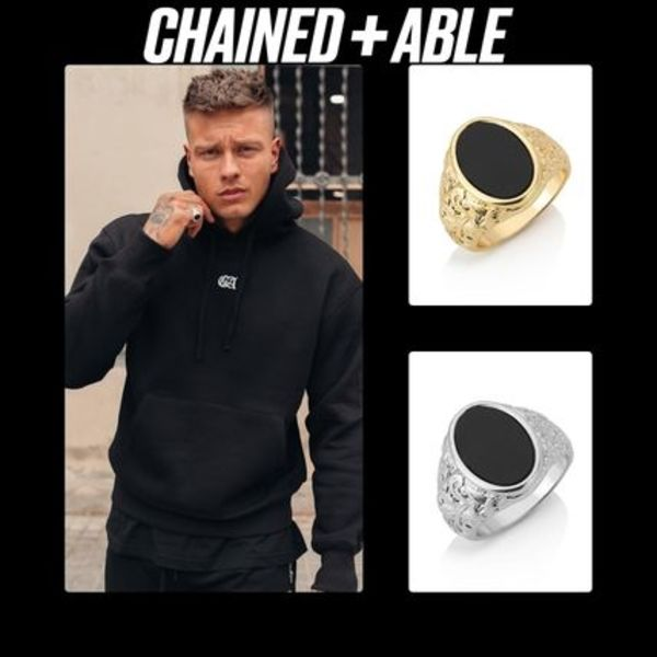 【日本未入荷】Chained&Able /OVAL DETAIL ONYX RING各色 UNISEX