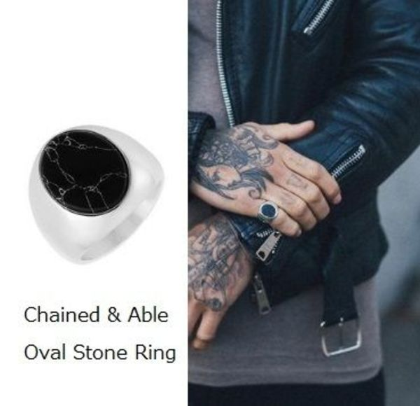 国内発送◆Chained&Able☆Oval Stone Ring☆Black/Silver 送料込