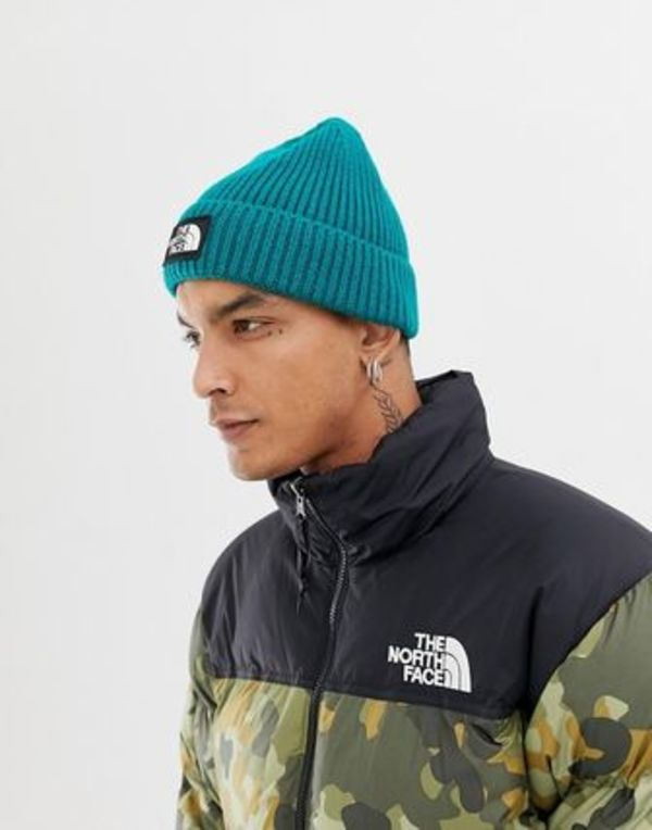 The North Face Logo Box Cuffed Beanie Hat in Everglade
