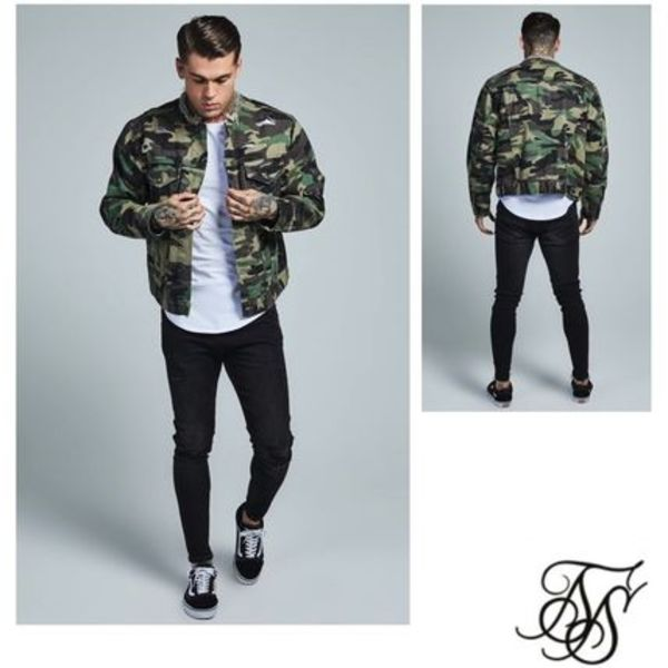 大注目!SikSilk  Camo Collarless Denim Jacket