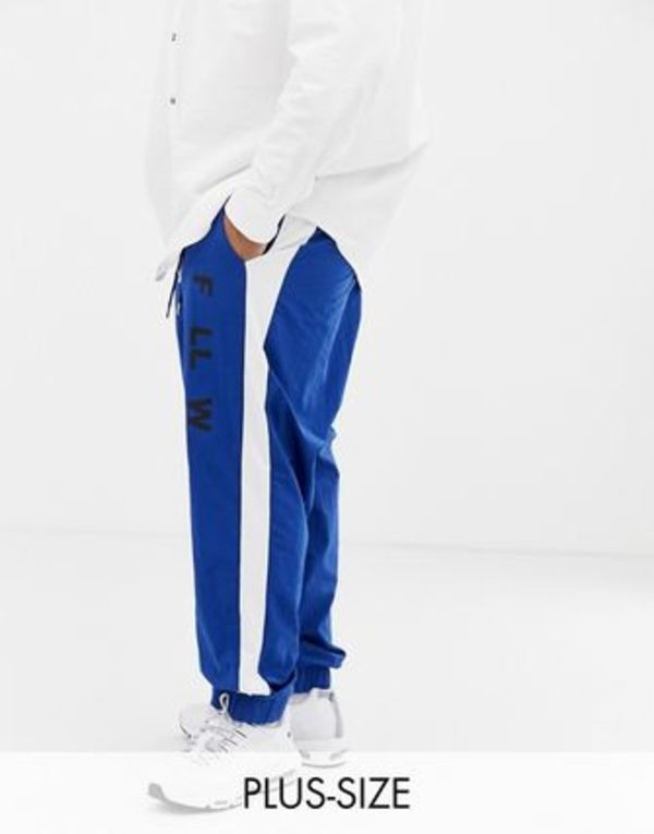 COLLUSION Plus woven jogger with side stripe in blue