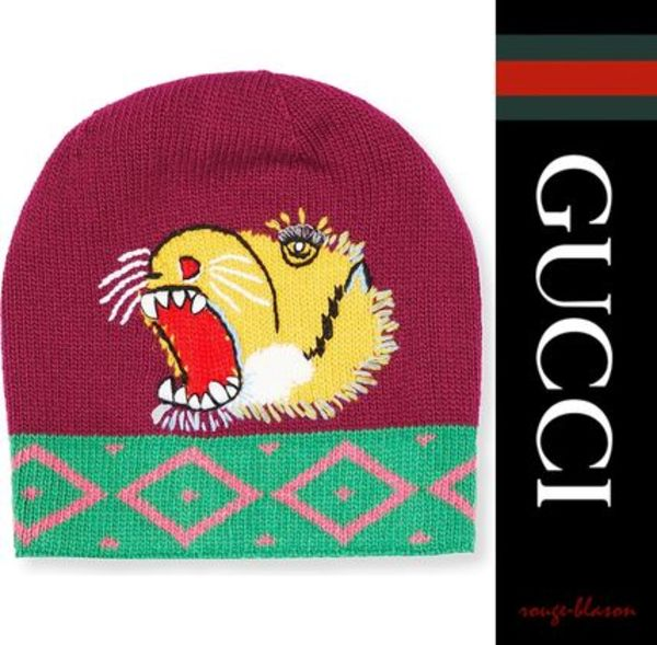 【国内発送】GUCCI 帽子 Tiger-embroidered knit beanie
