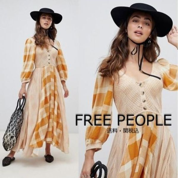 Free People Old Friends チェック ボタンフロント マキシドレス