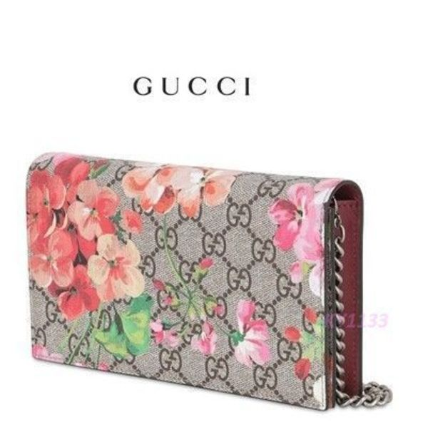 国内発送★15AW★GUCCI★Geranium printed coated canvas wallet