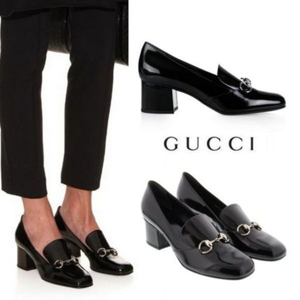 15-16AW★GUCCI polished leather horsebit loafer 関税./送込