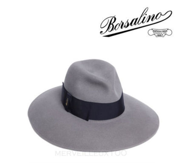 15AW BORSALINO GREY/BLUE RABBIT FUR FELT WIDE BRIM HAT