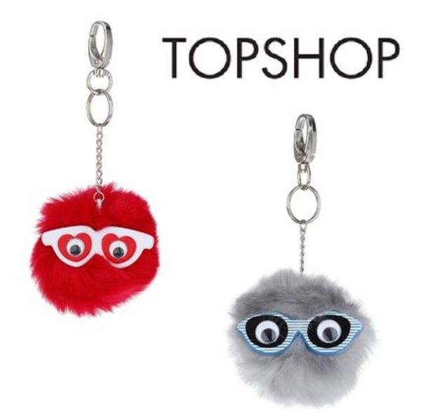 NEW★TOPSHOP★★バッグのアクセントに! ファーキーリング☆