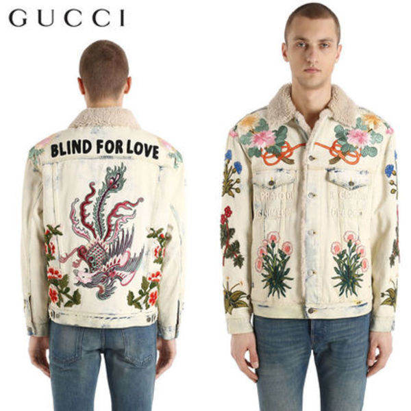【正規品保証】GUCCI★18春夏★PATCH SHEARLING DENIM JACKET