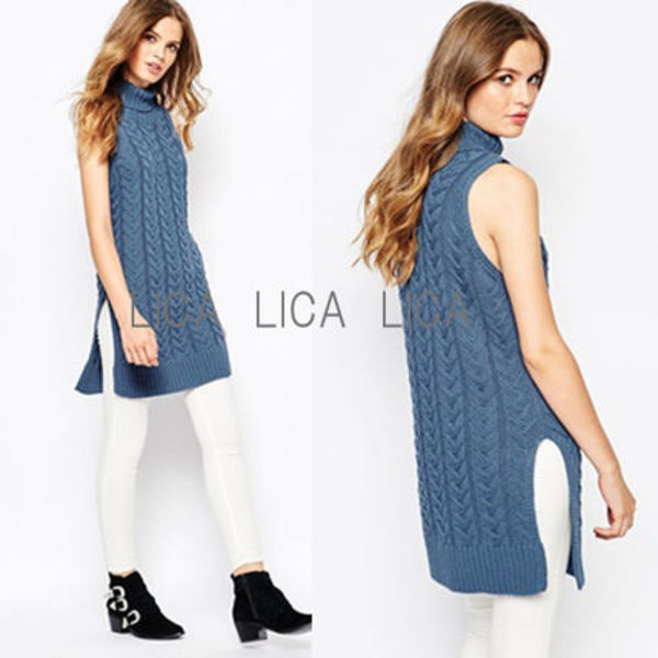 送料無料ASOS/Glamorous Roll neck Tunic with Side Splits