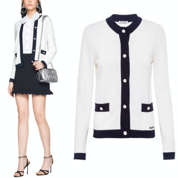 MM769 LOGO EMBROIDERED WOOL CARDIGAN