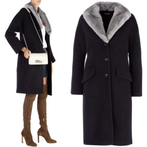 MM594 ANGORA BLEND WOOL COAT WITH MINK FUR COLLAR