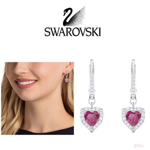 【SWAROVSKI】 ONE PIERCED EARRINGS, RED, RHODIUM PLATING