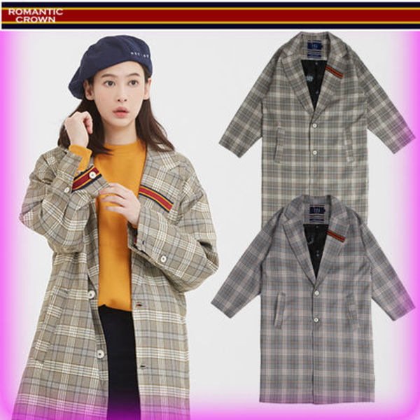 【ROMANTIC CROWN】全2色◆Striped Lapel Check Coat/追跡付き