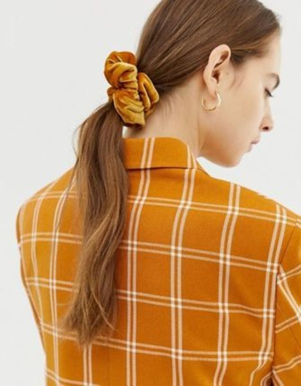 ASOS DESIGN Scrunchie in mustard velvet