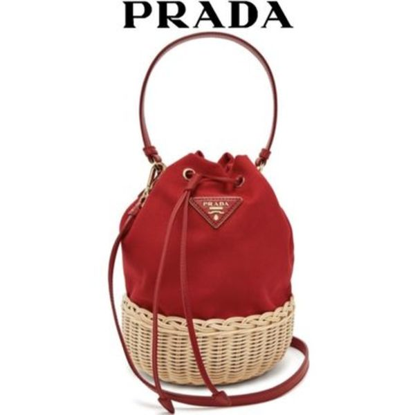 【19SS】★PRADA★Canvas and woven straw bucket bag