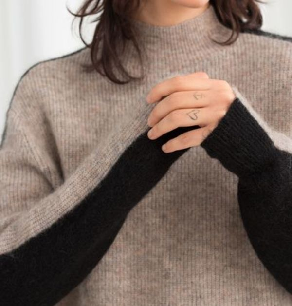 """""""& Other Stories"""" Mock Neck Colour block Sweater Oatmeal"""