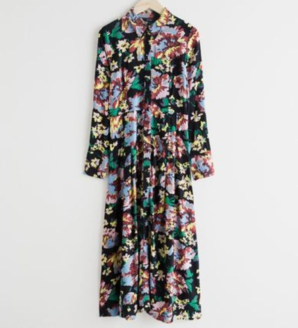 """& Other Stories"" Printed Flared Shirt Dress Floral Print"