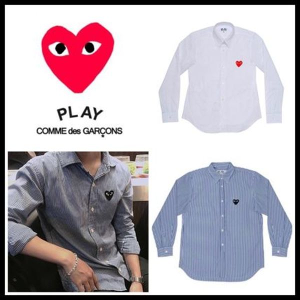 PLAY COMME des GARCONS プレイ ハート ロゴ メンズ シャツ