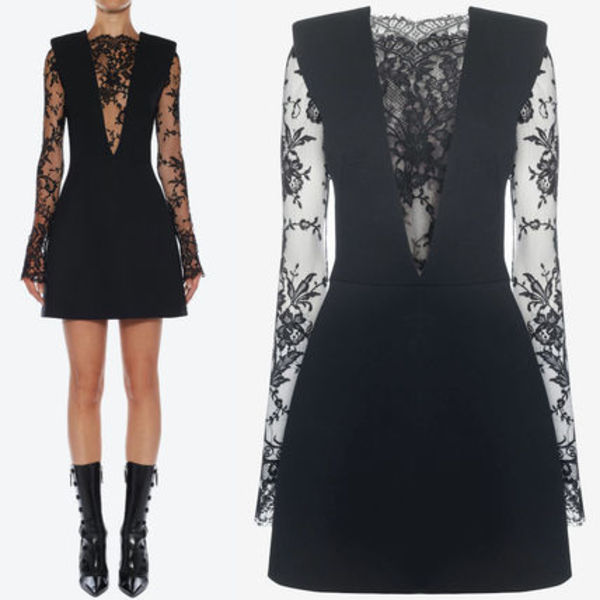 19SS AM472 WOOL & SARABANDE LACE MINI DRESS
