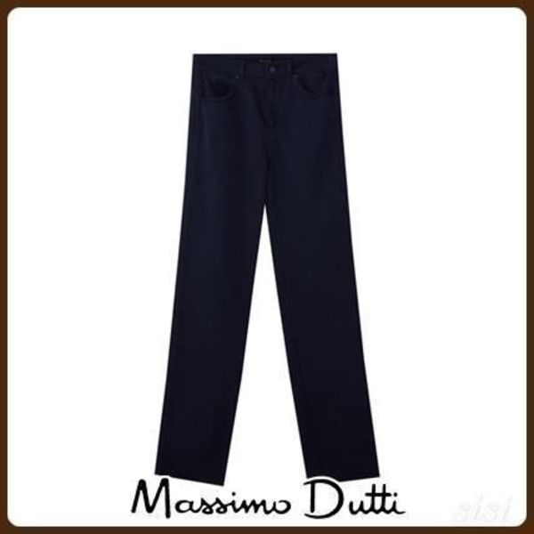 MassimoDutti♪NAVY TWILL HIGH-RISE STRAIGHT FIT TROUSERS