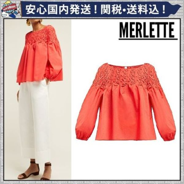 【MERLETTE 】★スモッキングコットンブラウス/CORAL★