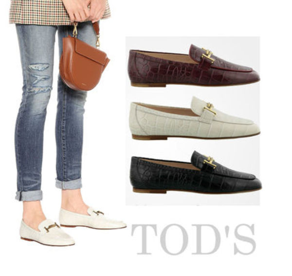 19AW TOD'S★DoubleT レザーローファー クロコ型押 関税/送料込