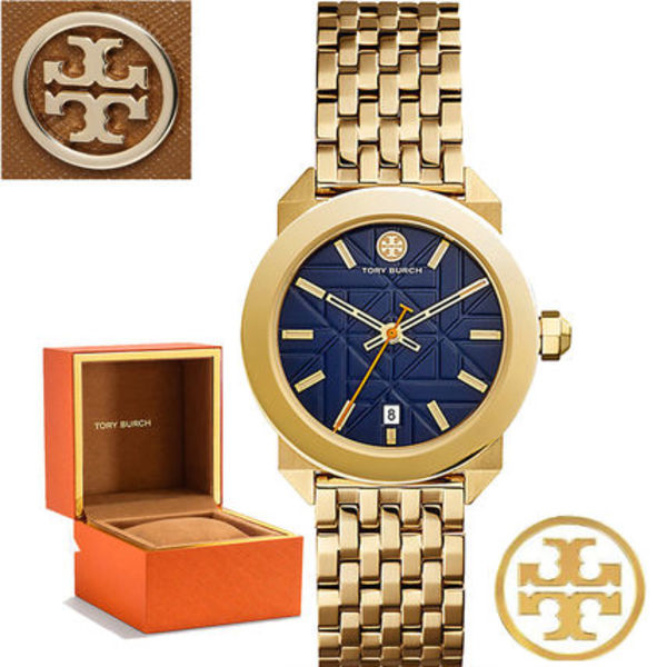 特価!Tory Burch WHITNEY WATCH,GOLD-TONE STAINLESS STEEL/NAVY