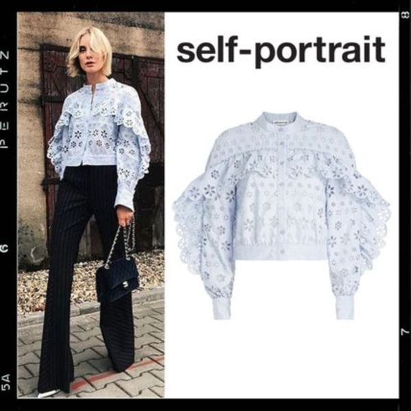 国内検品【Self-Portrait】Circle Floral Broderie Top