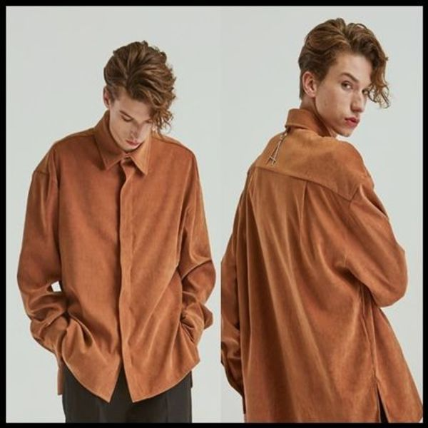 ☆add☆ シャツ VELVET HIDDEN LONG SHIRTS ORANGEBROWN