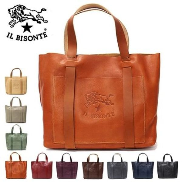 IL BISONTE イルビゾンテ ビッグロゴ レザートートバッグ