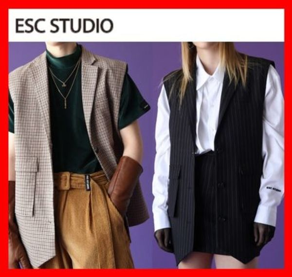 韓国の人気☆【ESC STUDIO】☆Pocket Vest☆2色☆UNISEX☆