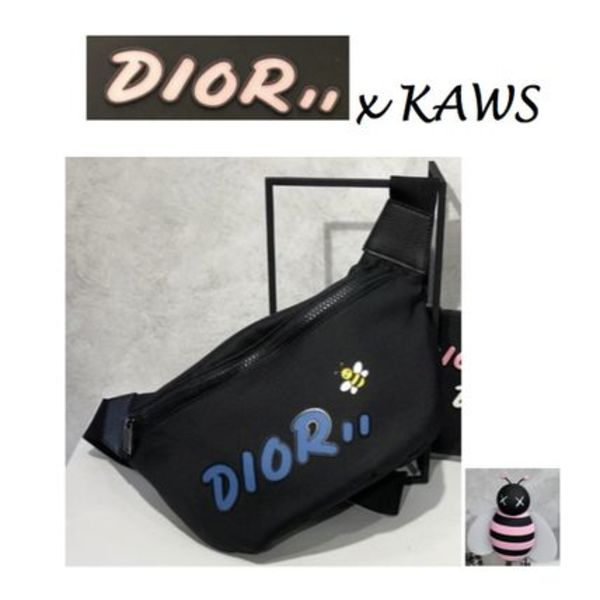 在庫薄☆DIOR X KAWS☆Black Nylon Pouch with Blue Dior logo