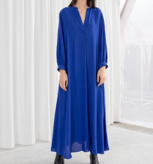 """& Other Stories"" V-Neck Kaftan Maxi Dress Blue"
